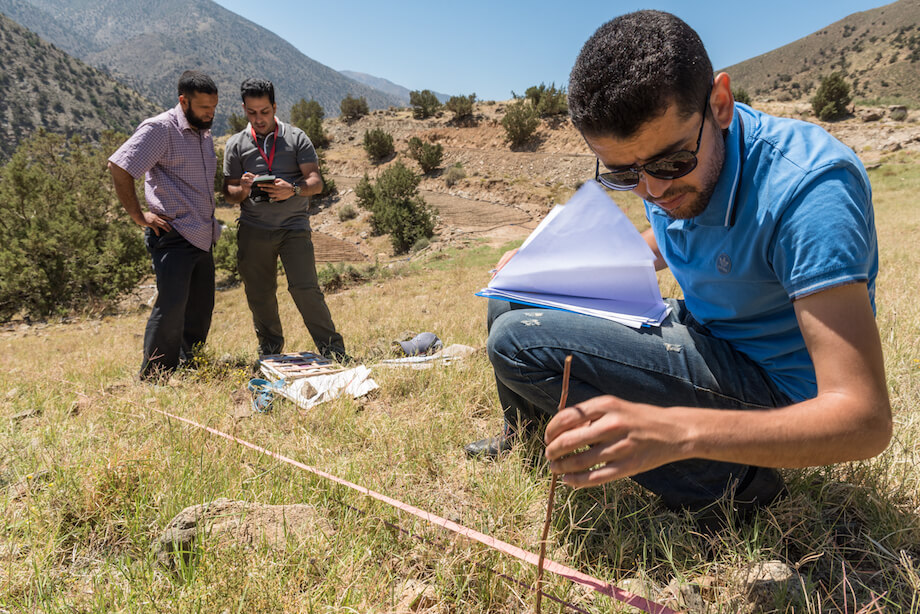 Two men talk as a third man crouches down to measure ​a grassy spot in a mountainous area.