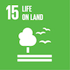 Bright green icon of a tree with birds representing Sustainable Development Goal 15, Life on Land.