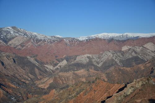 Brown mountain range.