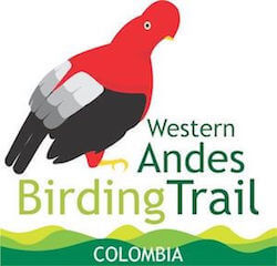 "Logo: Drawing of Andean cock-of-the-rock with words ""Western Andes Birding Trail, Colombia."""