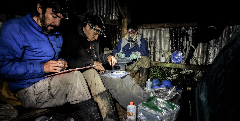 Three men in small shack recording information.