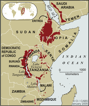 Eastern Afromontane Hotspot map in East Africa.