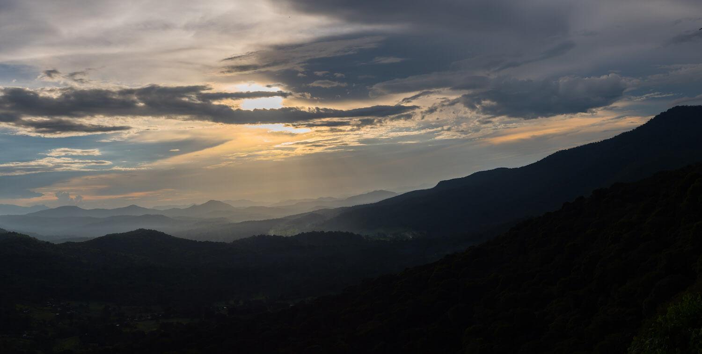 Mountain vista at sunset (or sunrise).