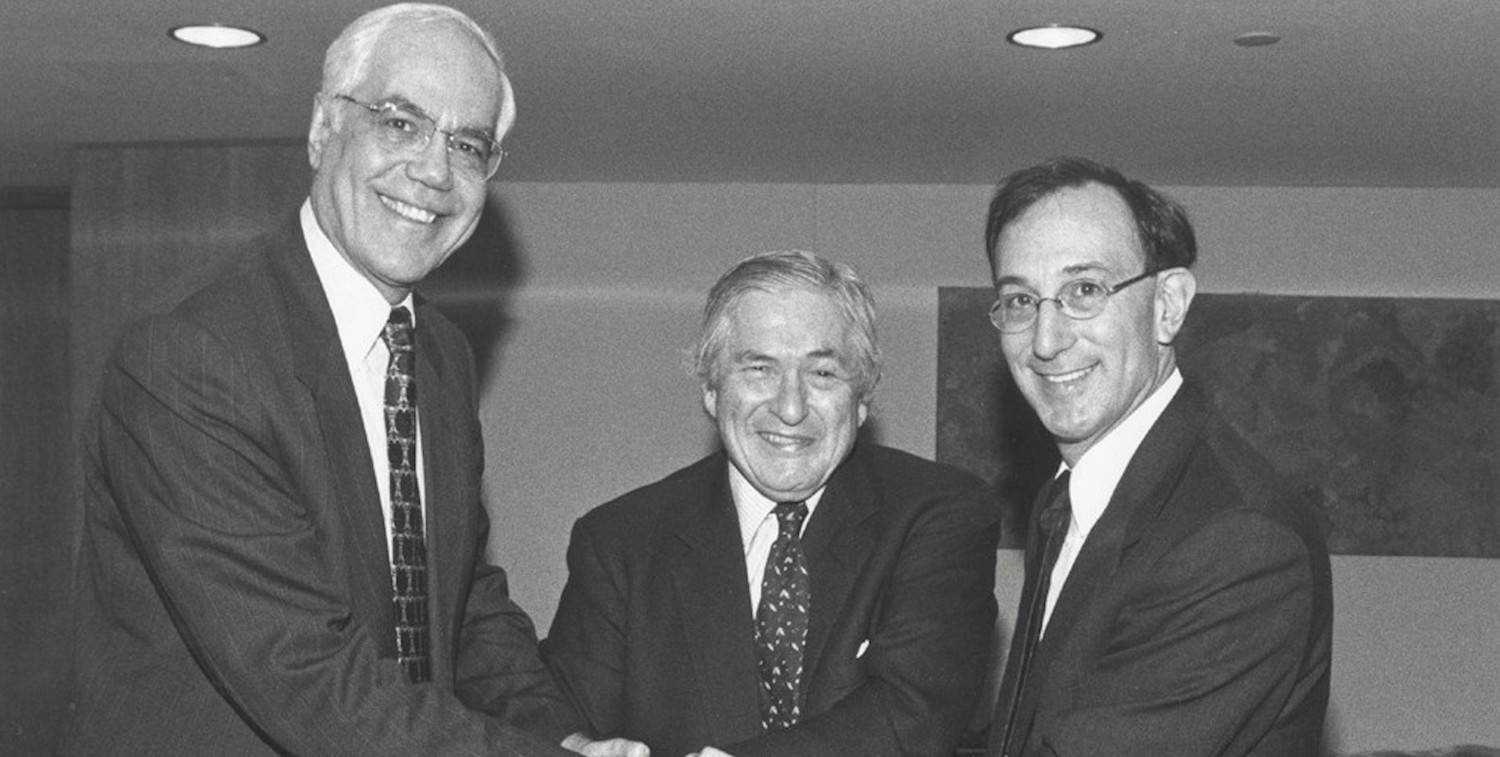 Mohamed El-Ashry of the Global Environment Facility, James Wolfensohn of the World Bank, and Peter Seligmann of Conservation International at the founding of CEPF.