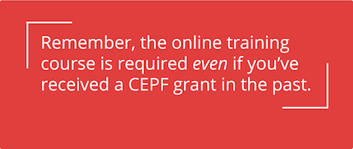 Online training required, including for previous grantees.