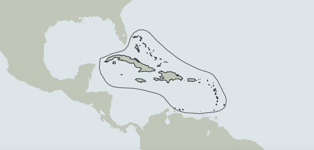 Caribbean Islands Hotspot map outline