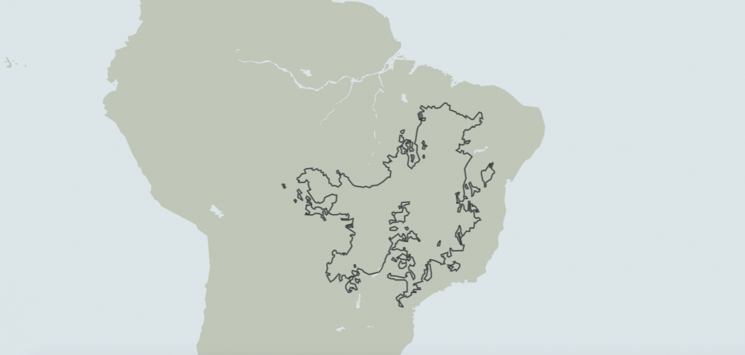 Map of Brazil with Cerrado Hotspot outlined.
