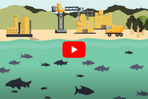 Still of animation of water with fish and factories on land. YouTube icon in center.