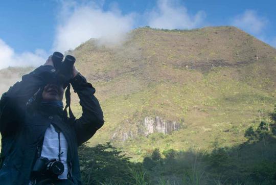 Woman looking up through binoculars, mountain in background.