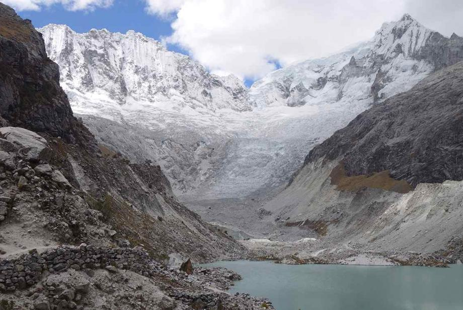 Glacial lake surrounded by snowy mountains.
