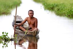 CEPF 2017 Annual Report Cover showing a man in a small wooden boat on the Irradwaddy Delta, Myanmar,