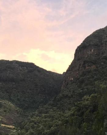 Sunset/Sunrise over foliage-rich mountain.