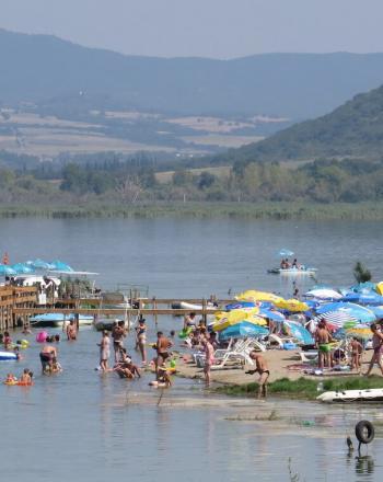 Tourists at lake