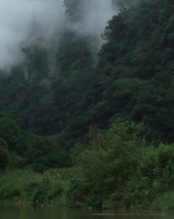 Lush valley with clouds.
