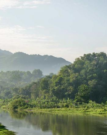 Larger river with green forest on either side and green mountains in the background.