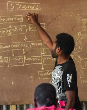 Man pointing to chart on blackboard.