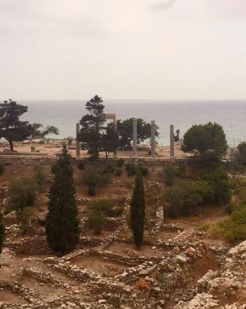 Archeological site on coast.