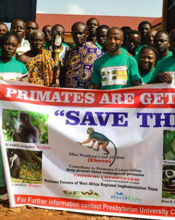 "Group of a couple people in matching green shirts standing behind a banner with photos of apes and ""Save Them"" along with other text."