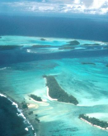 Arial view of Rennell Island surrounded by blue ocean in the Solomon Islands.