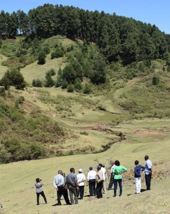 Group of about a dozen people standing in field that slopes up to a tree-covered hill.
