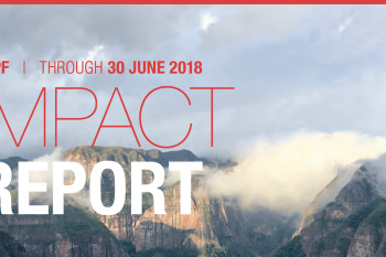 Impact Report cover - mountains with clouds