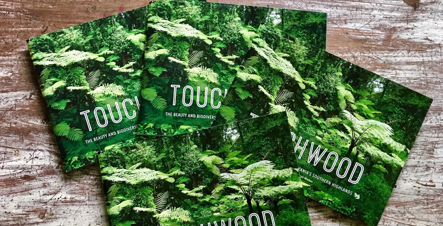 Four Touchwood hardcopy books on table (forest image as cover).
