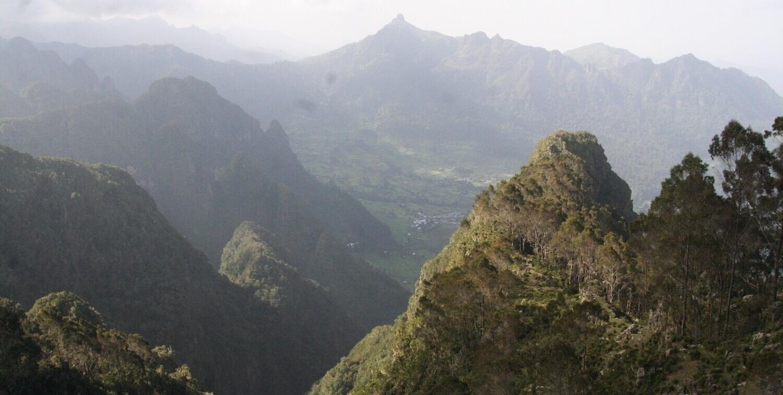 Vista of green mountains.