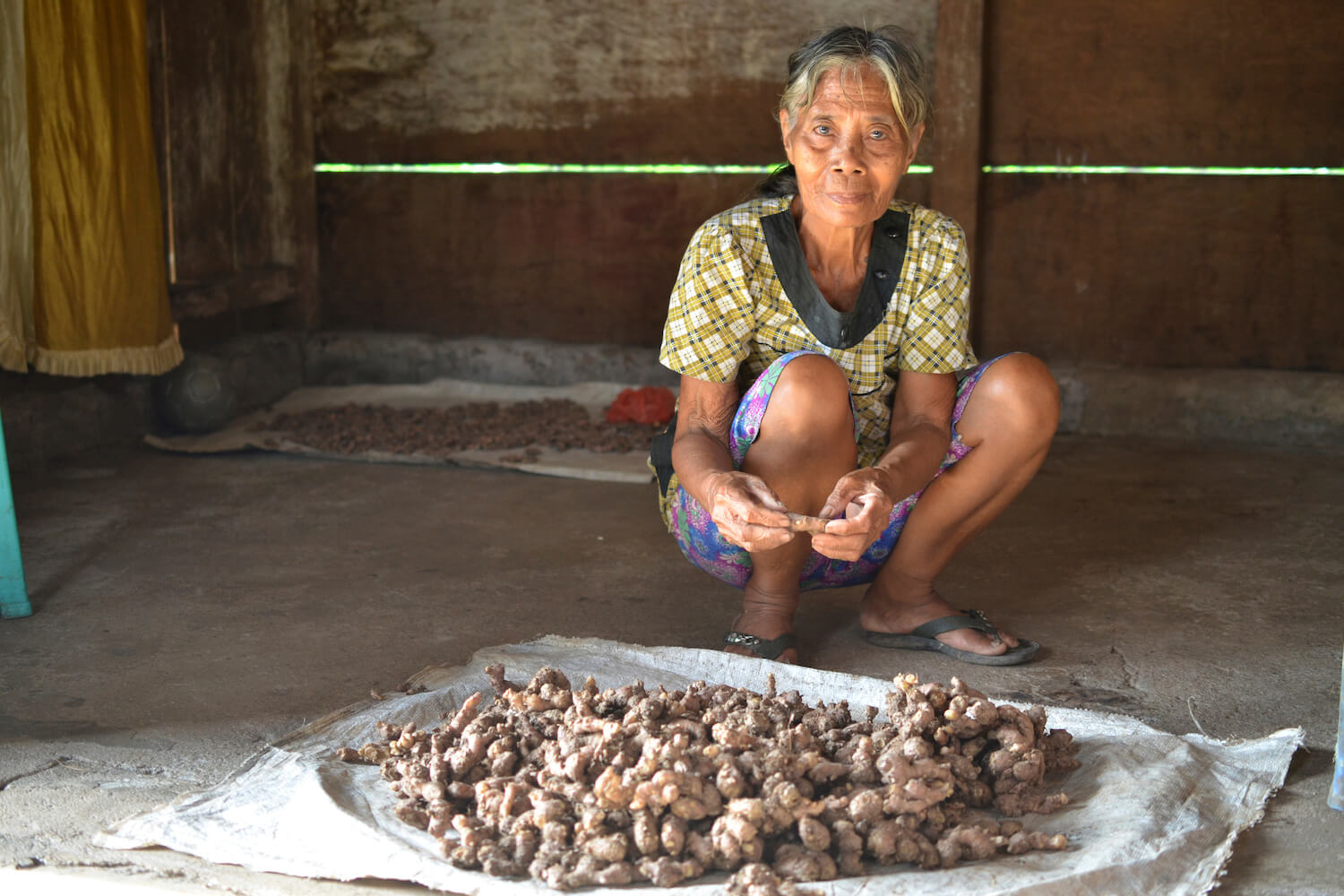 Older woman sitting behind products from her home garden.
