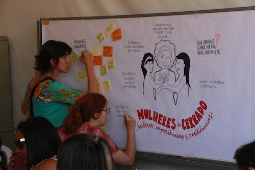 Two women write on a large piece of paper posted on a wall that includes a drawing of three women gathered together.